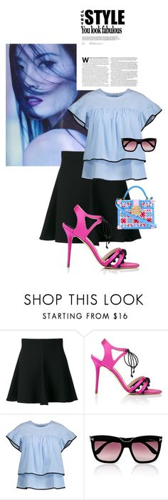 """You Look Fabulous"" by shortyluv718 ❤ liked on Polyvore featuring RED Valentino, Manolo Blahnik, Tom Ford, sandals, summerstyle, sunnies and ruffles"