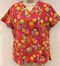 b823d2acace Looney Tunes Tweety Bird Peace Sign Psychedelic Flower Child Scrub Top  Women's S | eBay Medical
