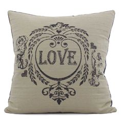 Chloe & Olive Love Potion Collection - Cotton Shabby Chic Cupid Home Décor Luxe European Decorative Throw Toss Accent Pillow with Insert (Navy Blue & Khaki, Crushed Velvet, Square, 1 20-Inch Cushion). TWO-FACED FASHION PILLOW DESIGN: With a simple flip of the pillow, the love and cupid design reverses to navy blue crushed velvet for an alternate look! Colors include navy blue and khaki brown. PILLOW COVER HANDCRAFTED IN THE USA FROM FABRIC IMPORTED FROM THE RICH HAUTE COUTURE MILLS OF...