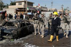 Soldiers near a bombing site