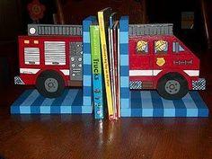 Cute fire truck bookends