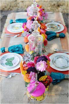 Boho Chic Wedding idea! Beautiful vibrant colors!    {Photo credit: Tasteful Tatters}