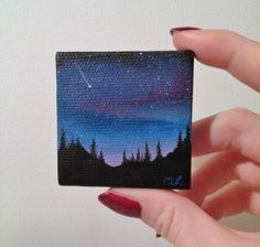 Shooting Star Over Forest Stary Space Painting  by MLpaintings