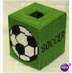 SOCCER TISSUE BOX PLASTIC CANVAS PATTERN