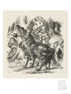 Knights Alice Watches the Fight Between the Red Knight and the White Knight Giclee Print by John Tenniel at Art.com