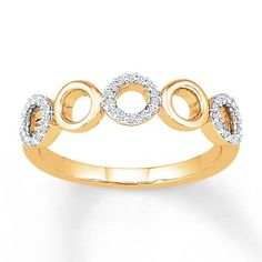 This stylish yellow gold ring features five circles, three decorated with shimmering round diamonds. The ring has a total diamond weight of carat. Gemstone Jewelry, Diamond Jewelry, Diamond Stone, Yellow Gold Rings, Ring Designs, Fashion Rings, Round Diamonds, Sterling Silver Rings, Circles