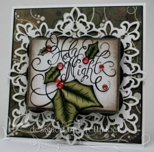 Holly Swirl Holy Night Card