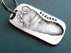 Your baby's footprint on a keychain - great gift for new mom/dad
