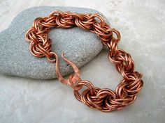 Solid Copper Bracelet Chain Bracelet Copper Chainmaille by Arret