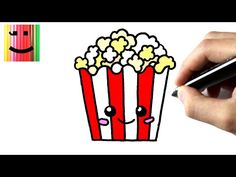 Comment dessiner des pop corns- TUTORIEL - How to draw a popcorn . Corn Drawing, Drawing S, Cute Kawaii Drawings, Kawaii Art, Art Drawings For Kids, Easy Drawings, How To Draw Popcorn, Youtube Kawaii, Shopkins Colouring Pages