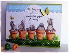 My Creative Moments: Monday Morning Challenge No. 4 - Think Spring Penny Black Cards, Penny Black Stamps, Cute Cards, Diy Cards, Diy Easter Cards, Black Bunny, Thing 1, Animal Cards, Card Sketches