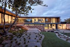 Moat's Corner House by Vibe Design Group - Modernist Home Architecture - The Local Project Outdoor Stair Lighting, Outdoor Stairs, Outdoor Trees, Outdoor Pavers, Design Patio, Hidden Lighting, Melbourne, Corner House, Australian Homes
