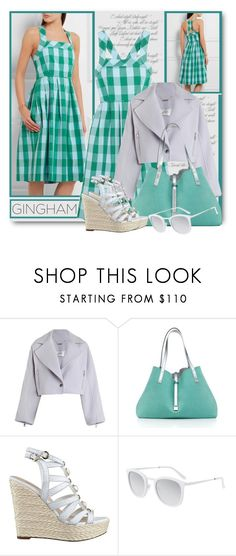 """""""Gingham Dress"""" by brendariley-1 ❤ liked on Polyvore featuring Zimmermann, Tiffany & Co., GUESS, Smoke x Mirrors, dress and gingham"""