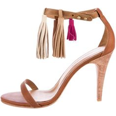 Pre-owned Ulla Johnson Luz Tassel Sandals ($195) ❤ liked on Polyvore featuring shoes, sandals, brown, stacked heel shoes, brown leather sandals, brown leather shoes, ankle strap sandals and leather sandals