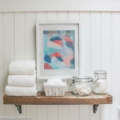 Super Easy DIY Rustic Shelf in Main Bathroom Makeover at thehappyhousie.com-2