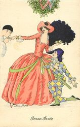 Vintage Christmas - lady under mistletoe holds hand to be kissed, another man kneels beside her. Vintage Christmas Cards, Christmas Images, Vintage Cards, Vintage Images, Christmas Art, Fashion Illustration Vintage, Illustration Art, Vintage Illustrations, Fancy Dress Ball