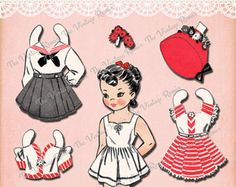Printable retro, vintage paper doll set. Paper dolls are so cute for little girls birthday parties...use them as treat bag favors or insert into birthday cards, invitations or thank you cards. Or simply use them as a fun craft for your child. Also fun for scrapbooking, decorating or card making!    Now offering INSTANT DOWNLOADS! You will find a link to your download on your purchase receipt. A link will also be sent to your Etsy e-mail address with-in minutes after purchase.    JPEG file…