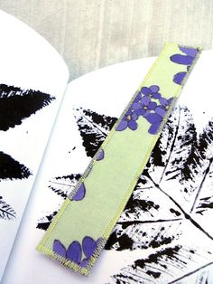 Cotton Bookmark  purple violets flowers double by eyespotdesigns, $8.00