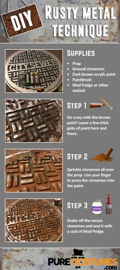 Get ready for a post apocalyptic Wasteland Weekend! If your costume needs some rusted metal. We've got you covered! With this easy DIY rusty metal technique, you can make any prop look like an old, rusty one! Even Mad Max would be proud!