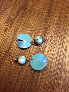 Turquoise enamel on copper with matching semi by ElleQuentJewelry