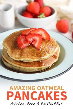 pancake healthy These Oatmeal Pancakes are amazingly fluffy, and take just minutes to prepare. Theyre gluten-free and taste better than a box mix! This healthy pancake recipe calls for just 7 ingredients that you probably already have in your pantry. Egg Free Recipes, Keto Recipes, Healthy Recipes, Lunch Recipes, Healthy Eats, Smoothie Recipes, Healthy Foods, Sweet Recipes, Dessert Recipes