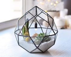 Stained glass terrarium Geometric planter Succulent terrarium Centerpiece geometric Modern planter Terrarium container Air plant terrarium