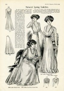 """free printable digital image design resource ~ vintage ladies fashion, from March 1909 issue of """"McCall's Magazine"""" vintage fashion plate"""