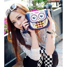 Women Handbag Cartoon Owl Shoulder Bag Messenger Bag