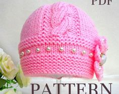 Knitting Pattern Baby Hat Baby Beanie Knit Pattern Infant Baby Girl Pattern Knitted Baby Cap Kids Pattern Children Hat Pom-Pom Babies PDF