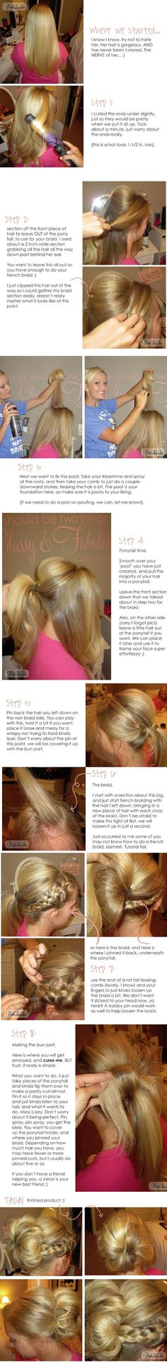 Side Braid into Messy Bun Tutorial for Abby for her 1st Daddy Daughter Dance