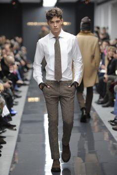 Add: Beige suspenders, Subtract: Gloves. Perfect!