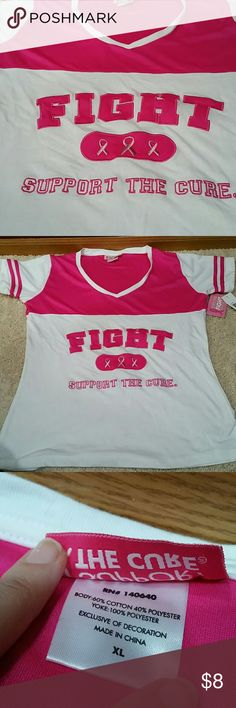 """Support the Cure """"FIGHT"""" tshirt Wear your pink: jersey-style! White tshirt material and hit pink sport jersey fabric. NWT. 40 inch chest and 28 inches long. Tops Tees - Short Sleeve"""