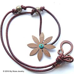Flower Pendant Necklace Copper Leather Necklace by mymusejewelry