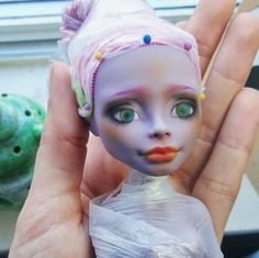 Good morning lovelies, getting this girls' final details in place. Saving the best (Gilda) for last. #monsterhigh #doll #repaint #dollrepaints #makeup #wip #work #working #progress #layers #eyes #hazel #pretty #lips #creativemending  #beautiful #handmade