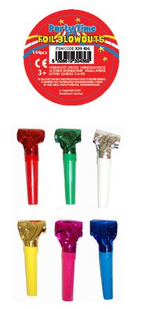 Foil Blowouts Assorted 144ct [hx30436] - £9.98 : Party Supplies | Fancy Dress Costumes | Party Goods | Balloons | Party Products | Wholesaler