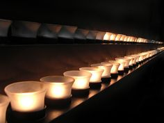 Candles in memory of Holocaust victims at the Holocaust Museum in Washington, DC