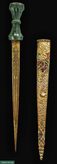 AN OTTOMAN JADE-HILTED AND GEM-SET DAGGER AND SCABBARD, TURKEY