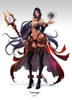 (via ArtStation - lineage_kelenis, Kim Sung Hwan) Fantasy Warrior, Fantasy Girl, Fantasy Women, Anime Fantasy, Female Character Design, Character Concept, Character Art, Concept Art, Special Characters