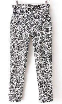 Flounced elastic waist harem pants white and black flower
