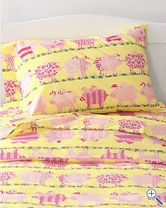 Here Piggy Piggy percale bedding from Garnet Hill. So need to find these. This Little Piggy, Little Pigs, Pot Belly Pigs, Pig Stuff, Mini Pigs, Cute Piggies, Flying Pig, Bed Pillows, To My Daughter