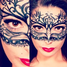 B.K.M Make-Up & Design - Painted Lace Mask- Design- Amie Parsons Photography - - Model Rebecca Marsh -Bethany Katie Marsh