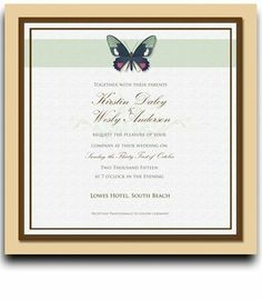 200 Square Wedding Invitations - Butterfly Moss Horizon by WeddingPaperMasters.com. $520.00. Now you can have it all! We have created, at incredible prices & outstanding quality, more than 300 gorgeous collections consisting of over 6000 beautiful pieces that are perfectly coordinated together to capture your vision without compromise. No more mixing and matching or having to compromise your look. We can provide you with one piece or an entire collection in a one stop shopping...