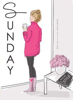 Heather Stillufsen. Sunday. Pink. Cozy. Coffee.