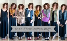 one dress, seven ways... Perfect reference for my no-clothes shopping challenge this year!  via @Lisa Leonard Designs