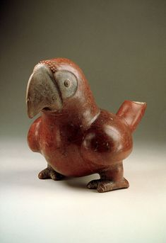 Vessel in the shape of a parrot, Colima cultures, Early to Middle Classic (200-600 A.D.), - Burnished red and whitish clay - National Museum of Anthropology, Mexico. Photo © Jorge Pérez de Lara - Mesoweb Features