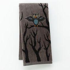 Halloween Owl In Tree Hand Towel