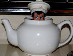 Elf On The Shelf -- Teapot surprise ! (Click on picture to see more great Elf On The Shelf ideas!)