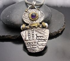 Ancient Mystery - Fine silver, pearl and Amethyst pendant with gold accents. designbysyzyn via Etsy.