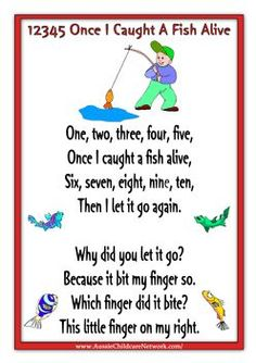 Mallet Madness lesson: 12345 Once I Caught A Fish Alive Lots of printable posters for nursery rhymes Rhyming Preschool, Nursery Rhymes Preschool, Rhyming Activities, Preschool Music, Kids Rhymes, Therapy Activities, Nursery Rhymes Lyrics, Nursery Rhyme Theme, Nursery Rhymes Songs