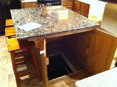 Kitchen Island hides entrance to secret hideout/fallout shelter/basement!